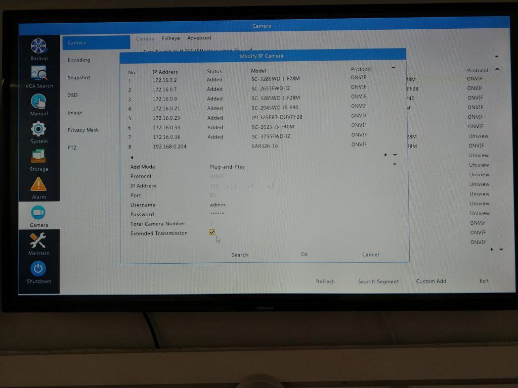 Uniview NVR interface